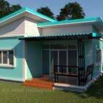 แบบบ้านสไตล์โมเดิร์นหลังเล็กน่ารัก ตกแต่งด้วยสีสันสวยสด 3 ห้องนอน 1 ห้องน้ำ งบก่อสร้าง 800,000 บาท