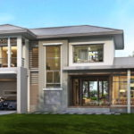 แบบบ้านสองชั้นสไตล์คอนเทมโพรารี ขนาด 3 ห้องนอน 5 ห้องน้ำ พร้อมพื้นที่ใช้สอยถึง 320 ตารางเมตร