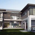 แบบบ้านสองชั้นรูปตัวแอล ตกแต่งสไตล์โมเดิร์น 4 ห้องนอน 5 ห้องน้ำ พร้อมพื้นที่ใช้สอย 309 ตารางเมตร