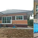 บ้านยกพื้นสไตล์ร่วมสมัย ตกแต่งโทนสีอิฐส้ม 3 ห้องนอน 2 ห้องน้ำ ก่อสร้างที่จังหวัดศรีสะเกษ