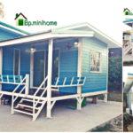 บ้านน็อคดาวน์ยกพื้น ตกแต่งโทนสีฟ้า ออกแบบสำหรับอยู่อาศัยไม่เกิน 2 คน งบประมาณ 279,000 บาท