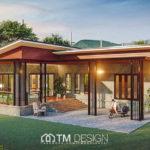 แบบบ้านชั้นเดียวสไตล์โมเดิร์นลอฟท์ ดีไซน์รูปตัวแอล (L-Shaped House) 2 ห้องนอน 3 ห้องน้ำ งบก่อสร้าง 1.4 ล้านบาท