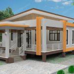 แบบบ้านยกพื้นทรงโมเดิร์น มีชานบันไดและเฉลียงพักผ่อน 3 ห้องนอน 2 ห้องน้ำ พื้นที่ใช้สอย 118 ตารางเมตร