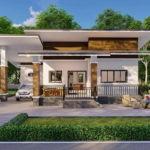 แบบบ้านชั้นเดียวสไตล์โมเดิร์น พร้อมที่จอดรถและระเบียงหน้าบ้าน งบก่อสร้าง 950,000 บาท