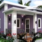แบบบ้านชั้นเดียวสไตล์โมเดิร์น โทนสีม่วงขาว 3 ห้องนอน 2 ห้องน้ำ พื้นที่ใช้สอย 66 ตารางเมตร