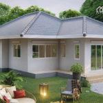 แบบบ้านชั้นเดียวสไตล์คอนเทมโพรารี ออกแบบสำหรับที่ดินหน้าแคบ ขนาด 3 ห้องนอน 2 ห้องน้ำ