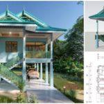 แบบบ้านไทยประยุกต์ ดีไซน์ยกพื้นสูง มีใต้ถุนโล่งกว้าง พร้อมพื้นที่ใช้งาน 98 ตารางเมตร