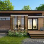 แบบบ้านสไตล์รีสอร์ทขนาดกะทัดรัด 2 ห้องนอน 2 ห้องน้ำ พร้อมเฉลียงไม้ทรงตัวแอล