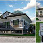 แบบบ้านยกพื้นสไตล์ทรอปิคอล โทนสีเทาสุดเท่ 4 ห้องนอน 2 ห้องน้ำ พร้อมเฉลียงรับลมหน้าบ้าน