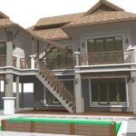 แบบบ้านสองชั้นทรงไทยประยุกต์ ออกแบบใต้ถุนยกสูง 4 ห้องนอน 4 ห้องน้ำ พร้อมที่จอดรถกว้างขวาง