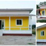 แบบบ้านชั้นเดียวสไตล์โมเดิร์น โทนสีเหลืองสะดุดตา ในขนาด 2 ห้องนอน 1 ห้องน้ำ