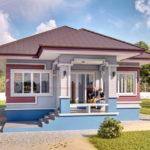 แบบบ้านชั้นเดียวรูปทรงร่วมสมัย พร้อมระเบียงนั่งเล่นหน้าบ้าน 2 ห้องนอน 2 ห้องน้ำ งบก่อสร้าง 1.3 ล้านบาท