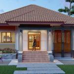 แบบบ้านเดี่ยวชั้นเดียวสไตล์คอนเทมโพรารี 3 ห้องนอน 2 ห้องน้ำ พื้นที่ใช้สอย 142 ตารางเมตร งบก่อสร้าง 2 ล้านบาท
