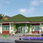 แบบบ้านรูปทรงร่วมสมัย หลังคาทรงมะนิลาสีเขียวสด 3 ห้องนอน 2 ห้องน้ำ งบก่อสร้าง 1.4 ล้านบาท