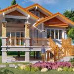 แบบบ้านชั้นเดียวดีไซน์ยกพื้นสูง 3 ห้องนอน 2 ห้องน้ำ พื้นที่ใช้สอย 116 ตารางเมตร งบก่อสร้าง 1.5 ล้านบาท