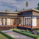 แบบบ้านชั้นเดียวสไตล์โมเดิร์น ออกแบบในรูปทรงตัวแอล (L-Shaped House) พร้อมระเบียงทอดยาวตลอดแนวบ้าน งบก่อสร้าง 1.85 ล้านบาท