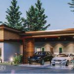 แบบบ้านชั้นเดียวสไตล์โมเดิร์น รูปทรงตัวแอล (L-Shaped House) ขนาด 3 ห้องนอน 2 ห้องน้ำ งบก่อสร้าง 1.3 ล้านบาท