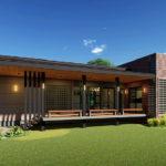 แบบบ้านสไตล์โมเดิร์น โดดเด่นด้วยผนังอิฐโชว์แนว พร้อมระเบียงโปร่งสบาย 2 ห้องนอน 2 ห้องน้ำ งบก่อสร้าง 1.6 ล้านบาท