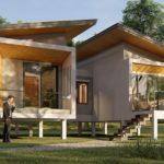 แบบบ้านแฝดยกพื้นสูงทรงโมเดิร์น พร้อมหลังคาเพิงหมาแหงน ขนาด 2 ห้องนอน 2 ห้องน้ำ