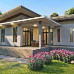 แบบบ้านสไตล์โมเดิร์นยกพื้นสูง รูปทรงตัวแอล (L-Shaped House)  3 ห้องนอน 3 ห้องน้ำ พื้นที่ใช้สอย 80 ตารางเมตร