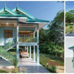 แบบบ้านทรงไทยประยุกต์ ดีไซน์ใต้ถุนบ้านยกสูงโปร่งสบาย ตกแต่งในโทนสีฟ้าสดใส งบก่อสร้าง 1.2 ล้านบาท