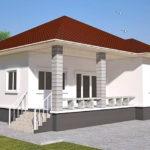 แบบบ้านชั้นเดียวสไตล์คอนเทมโพรารี ดีไซน์เรียบง่ายในโทนสีขาว ขนาด 3 ห้องนอน 1 ห้องน้ำ งบเริ่มต้น 1.55 ล้านบาท