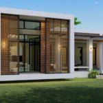 แบบบ้านชั้นเดียวสไตล์โมเดิร์น รูปทรงตัวแอล (L-Shaped House) ดีไซน์เปิดโล่ง ขนาด 3 ห้องนอน 3 ห้องน้ำ งบก่อสร้างเริ่มต้น 1.6 ล้านบาท