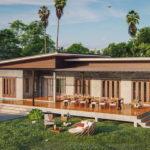 แบบบ้านชั้นเดียวสไตล์โมเดิร์น ออกแบบเฉลียงกว้างเพื่อกิจกรรมนอกบ้าน 3 ห้องนอน 4 ห้องน้ำ ในงบ 2.3 ล้านบาท
