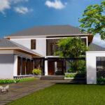 แบบบ้านสองชั้นโมเดิร์นทรอปิคอล โทนสีขาวเรียบง่าย 5 ห้องนอน 4 ห้องน้ำ สำหรับครอบครัวใหญ่