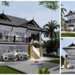 แบบบ้านชั้นครึ่งทรงไทยประยุกต์ โทนสีขาวเรียบ หลังคาทรงมะนิลาสวยเด่น 3 ห้องนอน 2 ห้องน้ำ พร้อมโรงจอดรถ