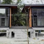 บ้านแฝดสำเร็จรูปสไตล์โมเดิร์น ออกแบบยกพื้นขึ้นสูง ก่อสร้างด้วยงบ 995,000 บาท