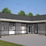 แบบบ้านชั้นเดียวแนววินเทจ ดีไซน์รูปทรงตัวแอล (L-Shaped House) 2 ห้องนอน 2 ห้องน้ำ งบเริ่มต้น 1.38 ล้านบาท