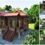 แบบบ้านไม้กึ่งปูนยกพื้นสูง ดีไซน์ไทยประยุกต์ พร้อมต่อเติมครัวไทยหลังบ้าน