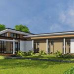 แบบบ้านสไตล์โมเดิร์นรูปทรงตัวแอล (L-Shaped House) พร้อมเฉลียงกว้าง 3 ห้องนอน 1 ห้องน้ำ งบเริ่มต้น 1.6 ล้านบาท