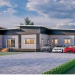 แบบบ้านชั้นเดียวสไตล์โมเดิร์น รูปทรงหน้ากว้าง 5 ห้องนอน 3 ห้องน้ำ ออกแบบเพื่อครอบครัวขนาดใหญ่