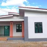 บ้านชั้นเดียวหลังเล็ก สไตล์โมเดิร์น หลังคาทรงปีกนก 2 ห้องนอน 1 ห้องน้ำ พร้อมเฉลียงหน้าบ้าน