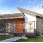 แบบบ้านชั้นเดียวสไตล์โมเดิร์น รูปทรงโดดเด่นสะดุดตา 2 ห้องนอน 1 ห้องน้ำ งบประมาณเริ่มต้น 800,000 บาท