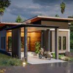 แบบบ้านชั้นเดียวสไตล์โมเดิร์น สวยเด่นด้วยงานไม้ผสมปูนเปลือย 3 ห้องนอน 2 ห้องน้ำ พื้นที่ใช้สอย 110 ตร. ม.