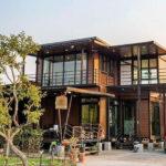 บ้านพักตากอากาศ โครงสร้างน็อคดาวน์สองชั้น สไตล์โมเดิร์น2 ห้องนอน 3 ห้องน้ำ พร้อมดาดฟ้าและบ้านน้องเหมียว