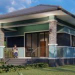 แบบบ้านเดี่ยวชั้นเดียวโทนสีฟ้าอมเขียว 3 ห้องนอน 1 ห้องน้ำ พื้นที่ 100 ตร. ม. พร้อมระเบียงรับแขกหน้าบ้าน