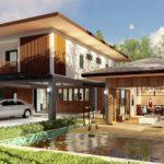 แบบบ้านสองชั้นสไตล์ร่วมสมัย 3 ห้องนอน 4 ห้องน้ำ พร้อมครัวแยกจากตัวบ้านและสระน้ำตื้นเสริมฮวงจุ้ย