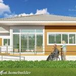 แบบบ้านชั้นเดียวเพื่อผู้สูงอายุและผู้พิการ 2 ห้องนอน 1 ห้องน้ำพร้อมระเบียงหน้าบ้านและทางลาดสำหรับวีลแชร์