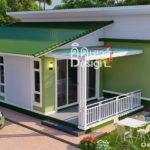 แบบบ้านทรงโมเดิร์นในโทนสีเขียวสดชื่น ดีไซน์หลังคาทรงปีกนก 2 ห้องนอน 2 ห้องน้ำ พื้นที่ 101 ตร.ม.