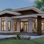 แบบบ้านเดี่ยวชั้นเดียวสไตล์โมเดิร์น ออกแบบครบทุกฟังก์ชันการใช้งาน 3 ห้องนอน 2 ห้องน้ำ พร้อมเฉลียงกว้าง