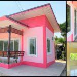 บ้านสไตล์โมเดิร์นขนาดกะทัดรัด โทนสีชมพูสดใส 2 ห้องนอน 1 ห้องน้ำ พร้อมระเบียงรับลมหน้าบ้าน