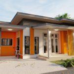 แบบบ้านโมเดิร์นชั้นเดียวขนาดกะทัดรัด โทนสีส้ม 3 ห้องนอน 2 ห้องน้ำ พื้นที่ใช้สอย 95 ตร.ม.