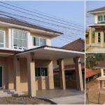 บ้านสองชั้นสไตล์คอนเทมโพรารี อบอุ่นด้วยผนังสีเอิร์ธโทน 4 ห้องนอน 3 ห้องน้ำ พื้นที่ใช้สอย 190 ตร.ม.