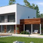 แบบบ้านสองชั้นสไตล์โมเดิร์นรูปทรงกล่องพร้อมโรงจอดรถ เหมาะไว้สร้างเป็นรีสอร์ตพักผ่อนท่ามกลางธรรมชาติ