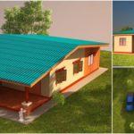 แบบบ้านชั้นเดียวแนวชนบท ออกแบบเรียบง่ายด้วย 2 ห้องนอน 1 ห้องน้ำ พร้อมเฉลียงกว้างเพื่อการพักผ่อน