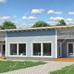 แบบบ้านชั้นเดียวทรงหน้ากว้าง สไตล์คันทรี โทนสีฟ้าสดใส 3 ห้องนอน 2 ห้องน้ำ พื้นที่ใช้สอย 160 ตร.ม.